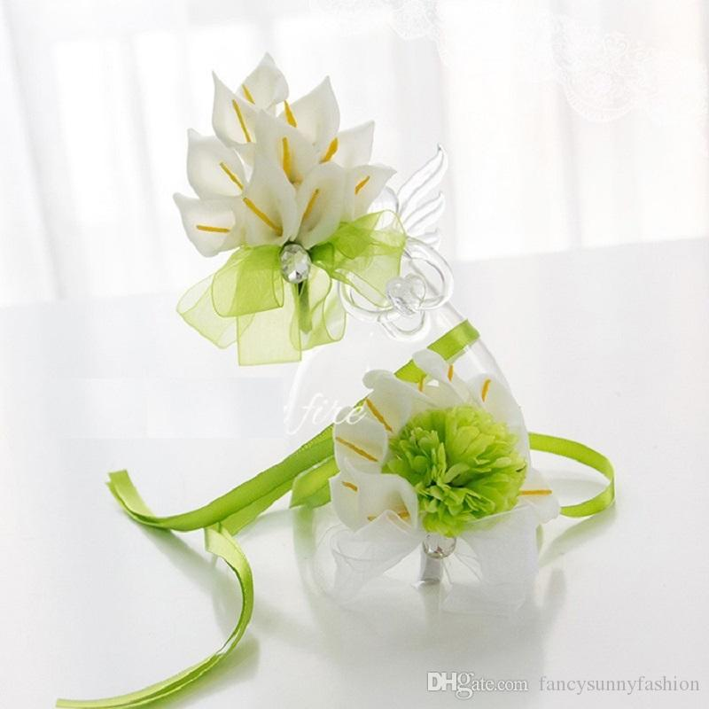 Calla Lily Wedding Brooches And Wrist Flowers White Green Corsage ...
