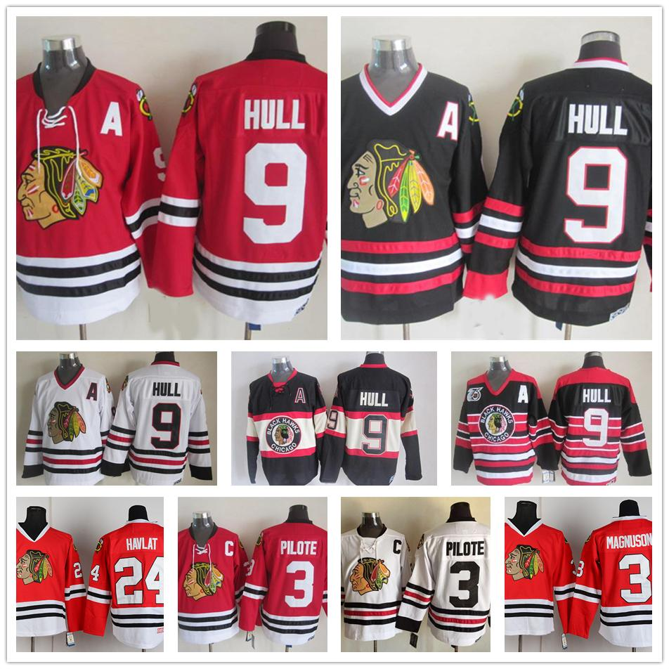 competitive price 6417f 73a21 Hockey 9 Bobby Hull Jersey Mens Chicago Blackhawks Vintage CCM 3 Pierre  Pilote 24 Martin Havlat 28 Steve Larmer Red Black White