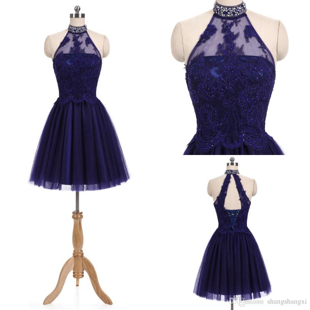 Großhandel Sexy 2018 Real Royal Blue Homecoming Kleider Halter ...