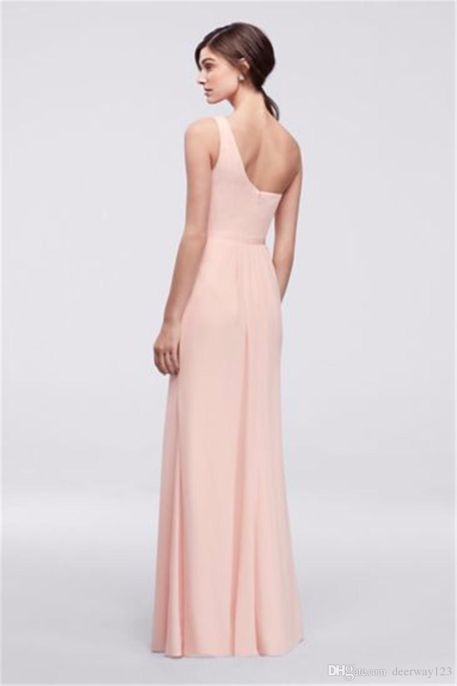 Side-Ruched One-Shoulder Plain Chiffon Floor Length Bridesmaid Dress POB17003 Wedding Party Dress Evening Dress Formal Dresses