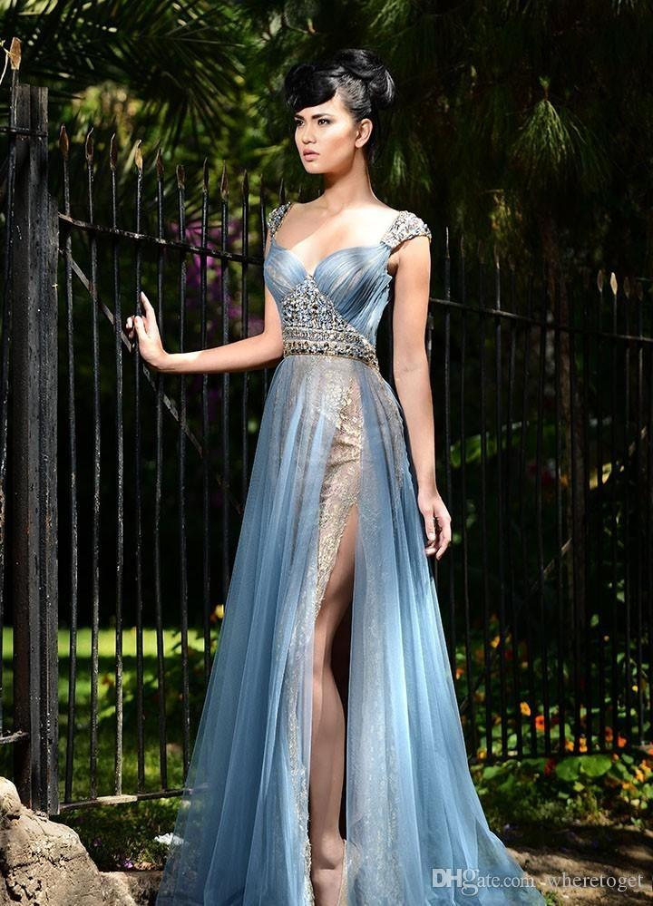 Rami Salamoun Mermaid Lace Side Split Abendkleider Perlen Schatz Hals Falten Tüll bodenlangen Prom Party Beauty Pageant Kleid 2019