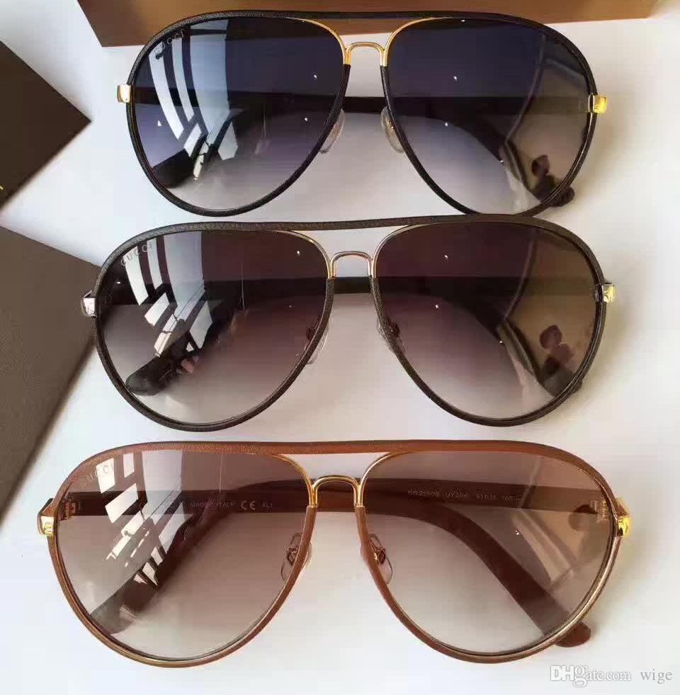 2887 Brown Leather Каркасные Brown Gradient очки 2887S Мужчины Pilot солнцезащитные очки с футляром Box