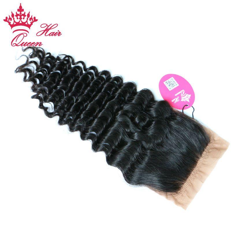 Capelli regina Parte libera di seta Chiusura della base della seta onda profonda 100% brasiliana Vergine dei capelli umani Tessuto