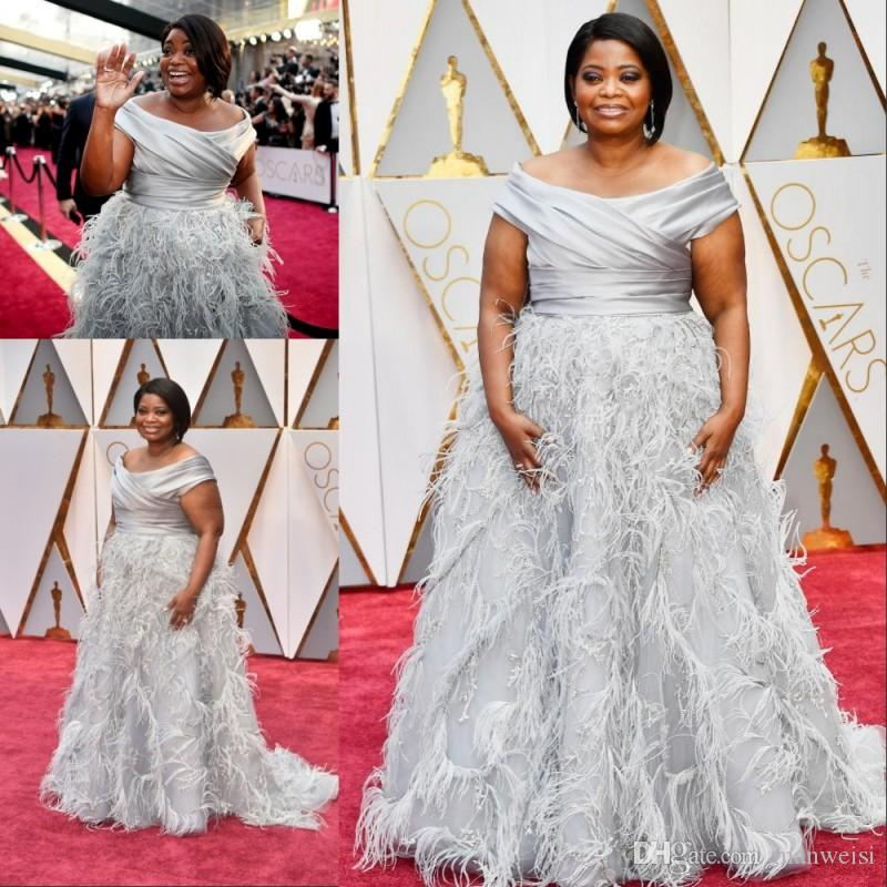 2017 89th Oscar Plus Size Silver Prom Dresses Off The Shoulder ...