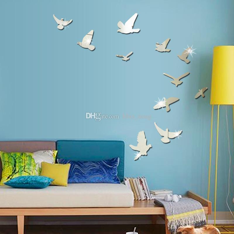 Cute Animals Pigeon Bird Arcylic Mirror Wall Stickers Diy Art Decal ...