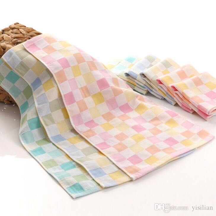 Good A++ Cotton double gauze lattice baby baby small towel gift towel cotton saliva towel TL016 as your needs