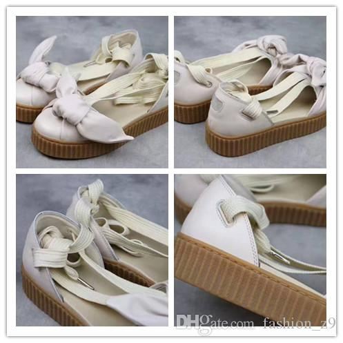 f4bc3cc5953 2018 Discount Women Fenty X Bow Creeper Sandals Rihanna Creepers Sandal  Lace Up Sandal Sneakers Beige Silver Natural Summer Strap Sandals Sandals  For Girls ...