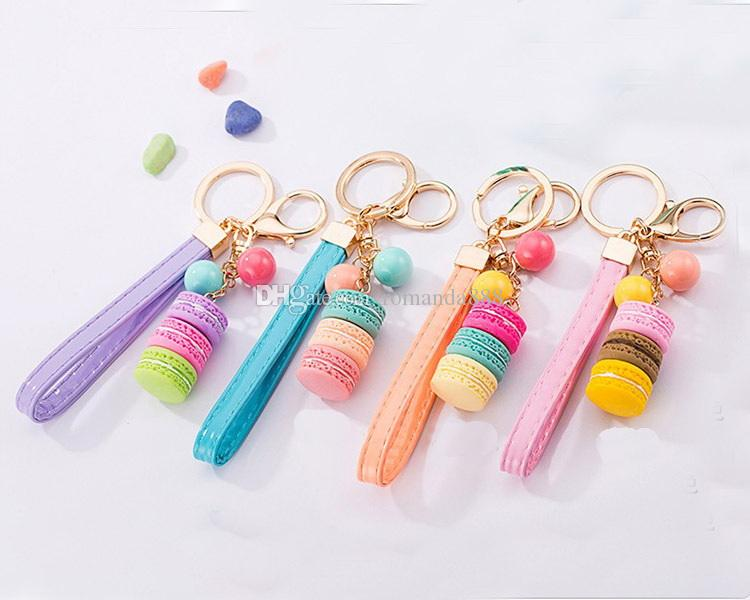 Macarons Cake Key Chain Hide Rope Pendant Keychains Car Keyrings Wedding Party Favor and Gifts DHL
