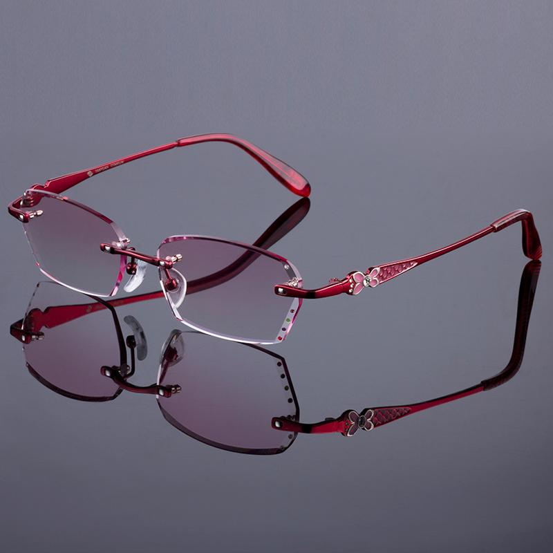 fe41699e09eb 2019 Wholesale Best Red Phantom Women Rimless Frame Titanium Alloy Optical  Frame Diamond Trimming Cut Rimless Glasses With Gradient Tint Lenses From  ...