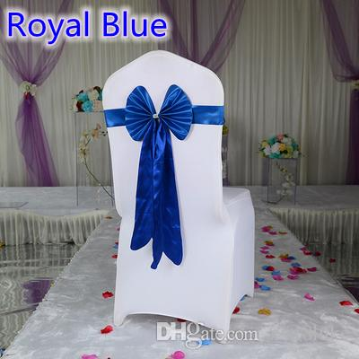 Royal blue color chair sash long tail butterfly style wedding chair decoration luxury chair bow tie wholesale lycra spandex sash