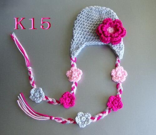 2018 Flower Crochet Pattern Hat Baby Girls Winter Christmas Caps