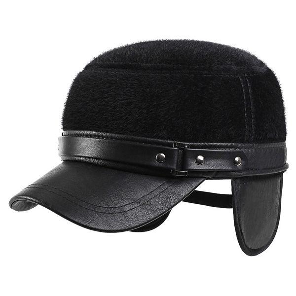 67ef062b509 Wool Winter Warm Baseball Cap With Earflap For Men Women Thicken ...