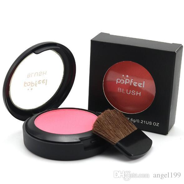 2016 Popfeel Cosmetic Blush Makeup Face Powder Blush Cake Plus Compact Face Blusher with Brush & Compact Mirror 6g