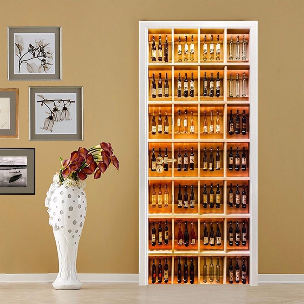 Hot Wine Cabinet Door Wall Stickers Diy Mural Bedroom Home Decor ...