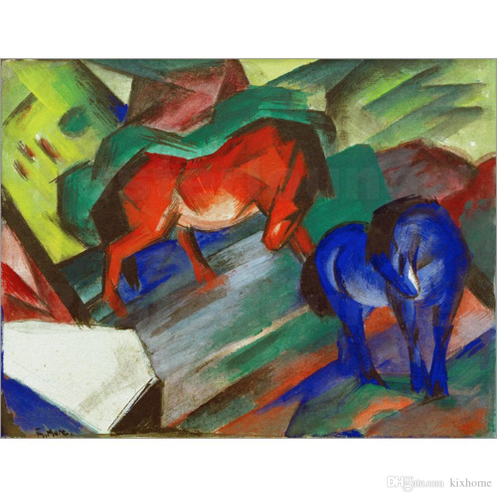 2018 gift horses oil paintings by franz marc red and blue horse hand 2018 gift horses oil paintings by franz marc red and blue horse hand painted modern art wall decor from kixhome 10151 dhgate negle Images
