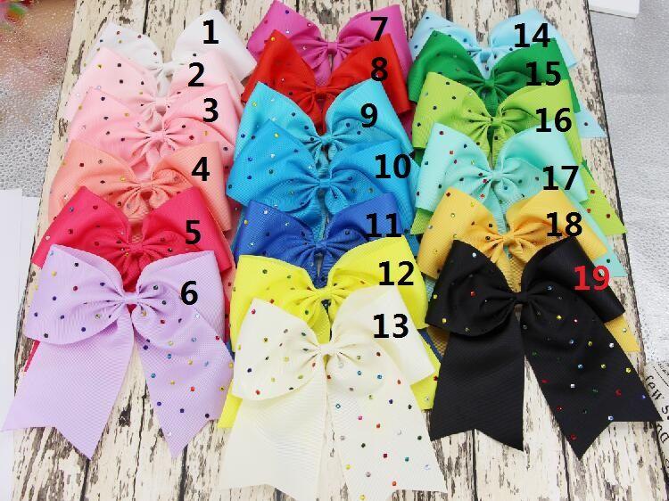 8 Inch jojo Rhinestone hair bow Elastic Ties/ Spring clip/ crocodile clip/ Cheerleading Cheer Bow Grosgrain Ribbon Hair Accessories /