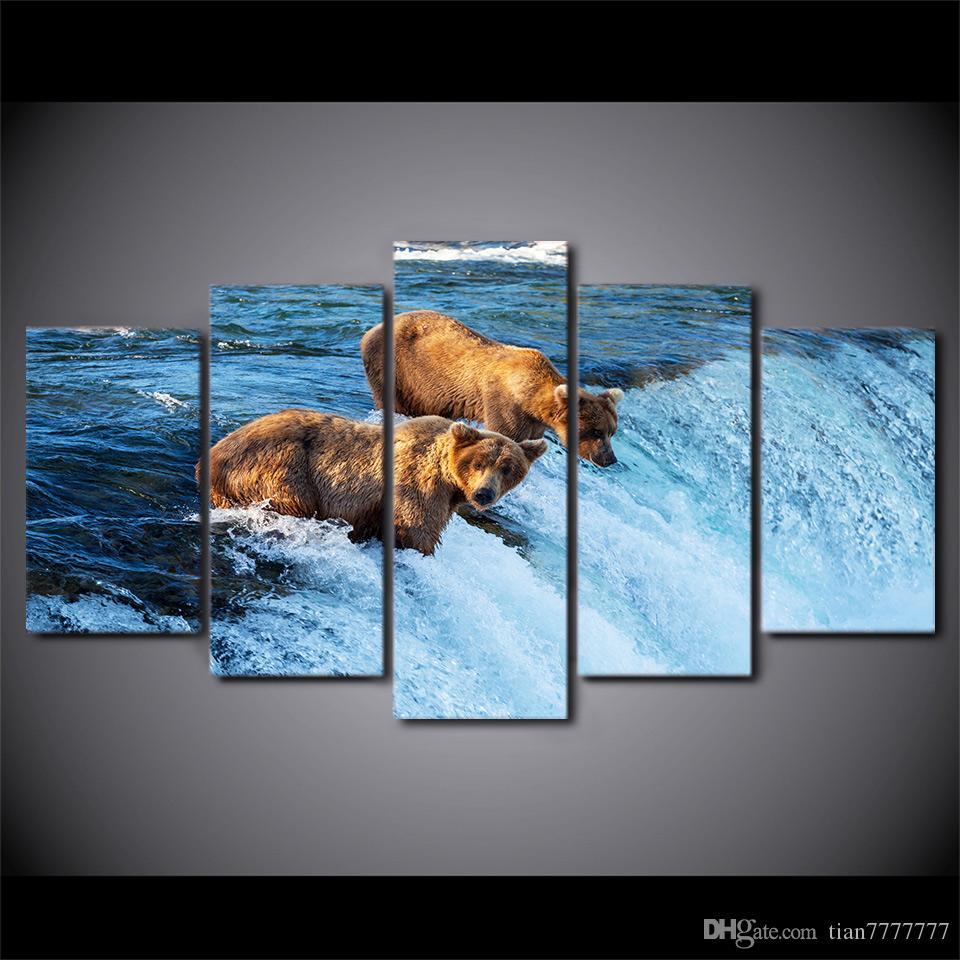 Décoration de la maison Décoration murale Tableau de photo 5 Pas de cadre Ours Se promener dans la rivière Impression sur toile Peintures