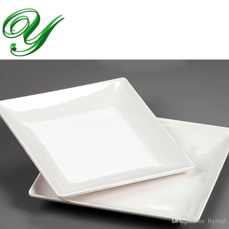 2018 Melamine Dinner Plates Dishes Outdoor Picnic Dinnerware Wedding Buffet Serving Tray 8.5 Inch White Square Sushi Salad Dessert Plastic Plates From ...  sc 1 st  DHgate.com & 2018 Melamine Dinner Plates Dishes Outdoor Picnic Dinnerware Wedding ...