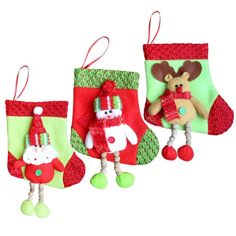 Cute Christmas Hanging Socks Gift Bag Lovely Santa Claus Snowman Socks Long Feet Big Stocking New Year Supplies 2017 Outdoor Christmas Stockings