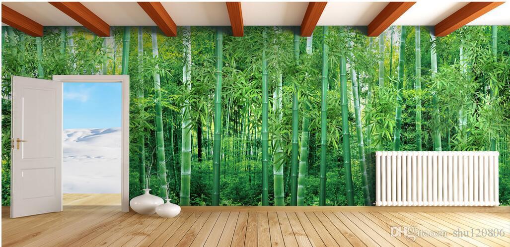 chambre 3d wallpaer photo personnalisée murale paysage naturel panoramique bambouseraie peinture paysage peintures murales 3d fond d'écran pour les murs 3 d