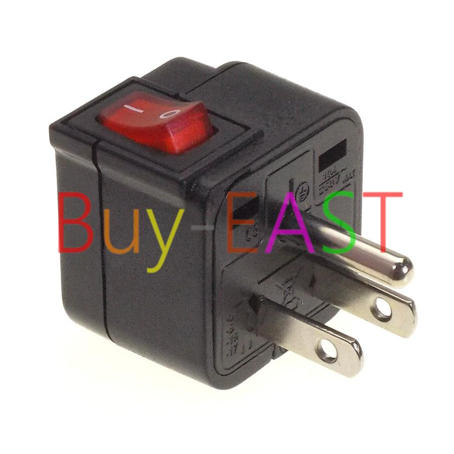 US Canada Electrical Plug Adapter W/ LED Main Switch Mulit Outlet ...