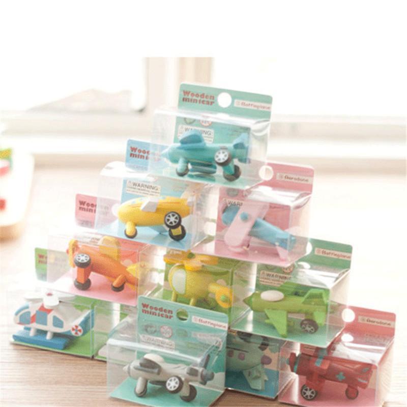 / Set Export Enfants Diecasts En Bois Avion Jouets 5CM Bande Dessinée Minicar Modèle Véhicule En Bois Mini avion Bébé Jouets Enfants Cadeau