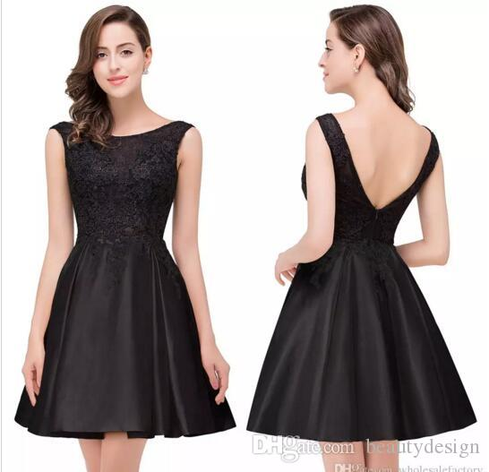 72f2b4a3309ca Free Shipping 2017 Cheap Little Black Short Cocktail Dresses Designed A  Line Crew Neck Sexy Backless Appliqued Homecoming Prom Gowns CPS363