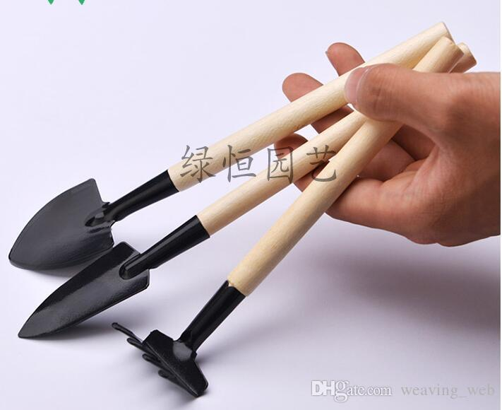 set mini garden tools round sharp shovel wooden rake handle metal head rabble plant tool gardening toy for kids