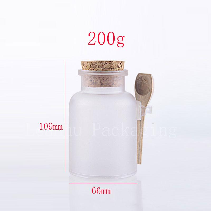 Wholesale- 200g X20 empty round bath salt bottles with wooden cork , cosmetic jars container with cork and spoon cosmetics packaging