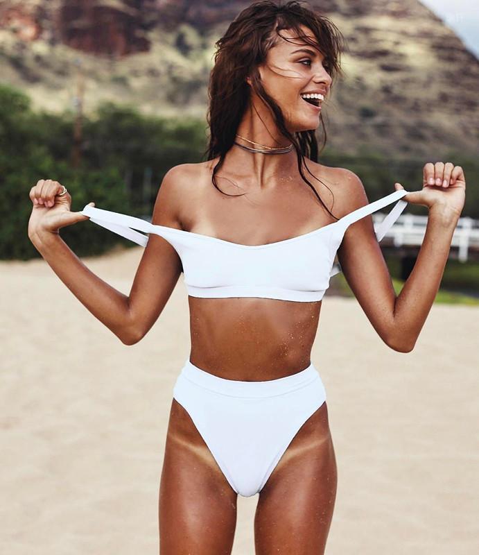 White Bikini High Leg Swimsuit Push Up Women Swimwear High Waist ... fbeef5612c