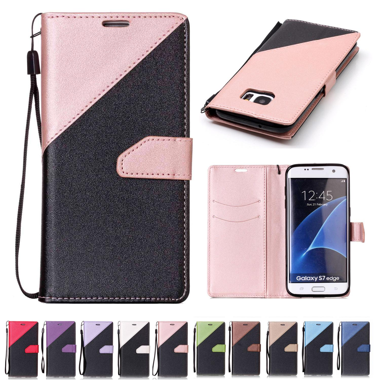 brand new f5784 d8427 For Samsung Galaxy S7 Edge Wallets Cases Thick PU Leather Case with Card  Slot Hand Strap Sand Beach Surface Design