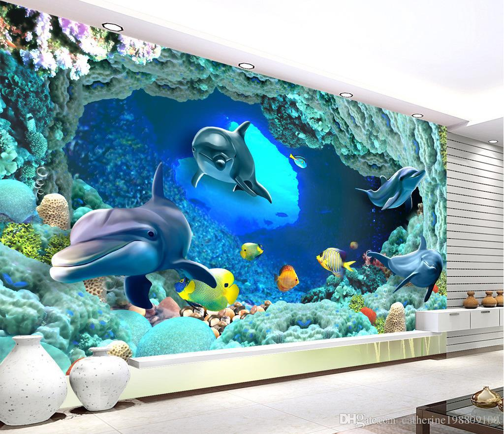 high quality customize size modern 3d dolphin mural 3d wallpaper 3d wall papers for tv backdrop. Black Bedroom Furniture Sets. Home Design Ideas