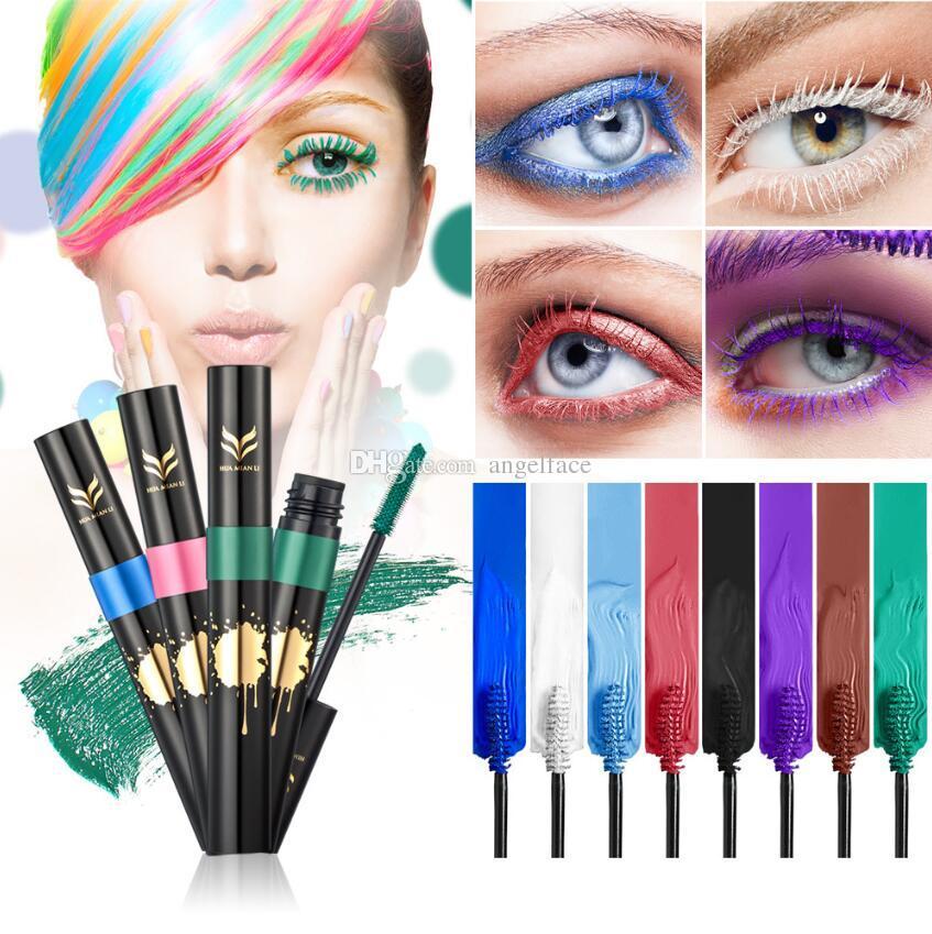 Mascara Bunte Grün Weiß Schwarz 8 Farben Wasserdichte Verlängerung Curling Wimpern Mascara Silikon Frauen Professionelle Make-up 3D Mascara