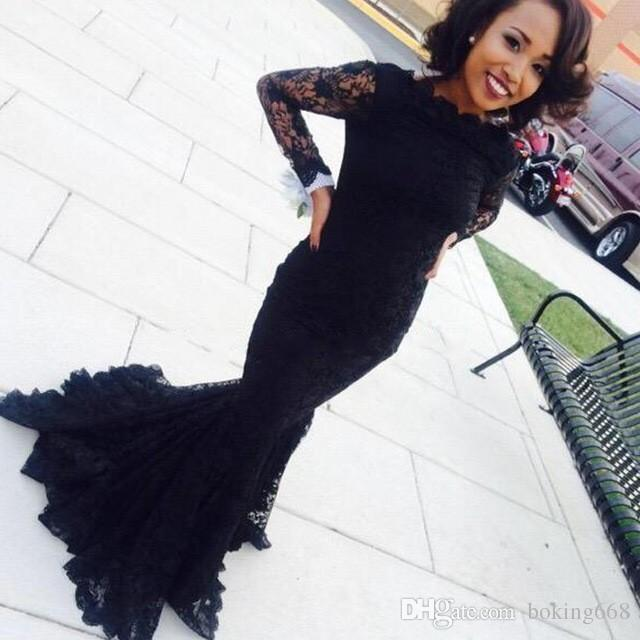 African Long Sleeve Black Lace Sexy Mermaid Prom Dresses 2019 Newest Floor Length See Through Women Evening Gown Dress For Graduation