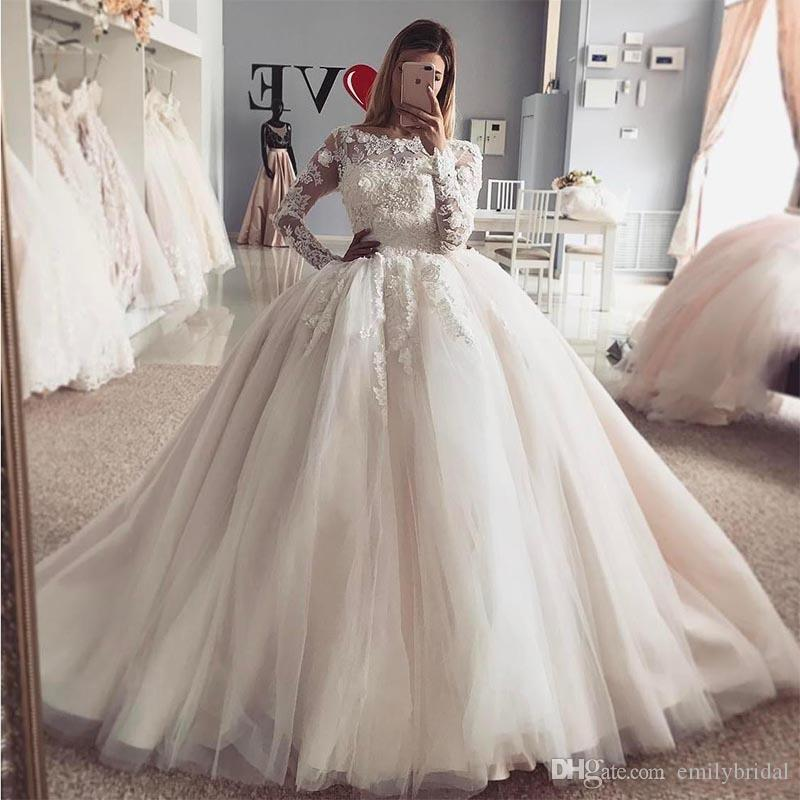 Princess Ball Gown Wedding Dress With Long Sleeves Applique Lace Puffy Tulle Arabic Bridal Gowns 2017 Vintage Dresses Cheap For