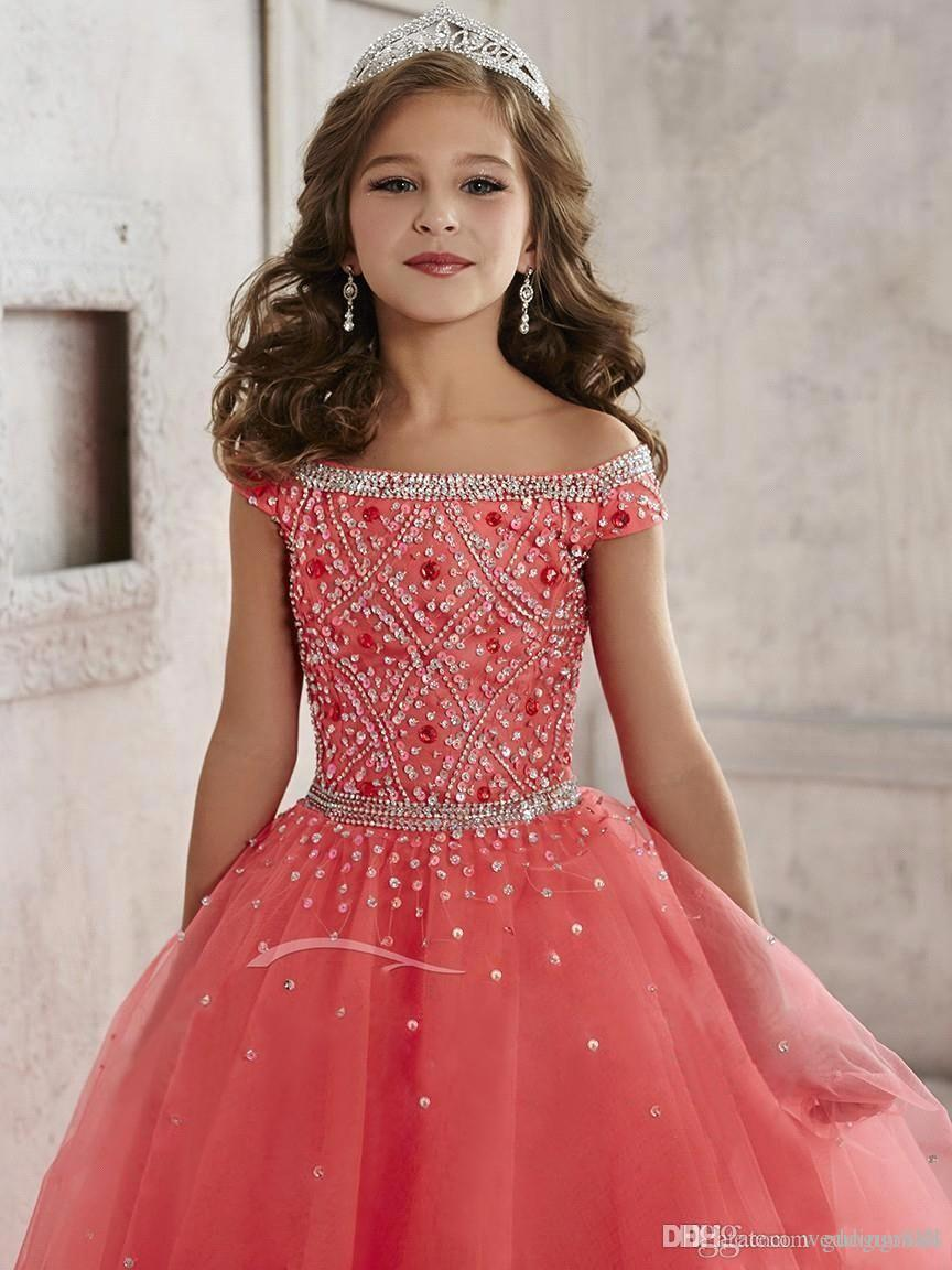 Little Girls Pageant Dresses Wear 2017 Off Shoulder Crystal Beads ...