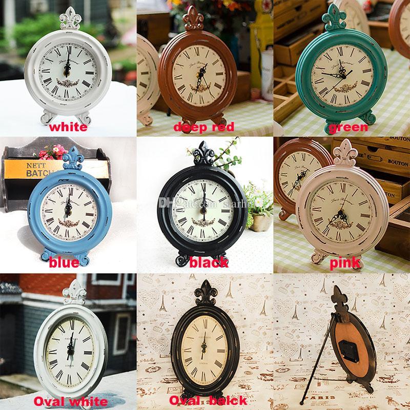 빈티지 나무 라운드 타원형 시계 패션 홈 거실 침실 장식 8 색 테이블 시계 무료 배송 WX9 - 42