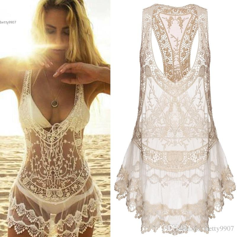 61f9df1bc2fa9 Women Clothes Bikini Cover Ups Swimwear Sexy Beach Dresses Lace Crochet  Summer Mini Dress V Neck Polyester And Lace Bathing Swimsuit White Lace  Dress Casual ...