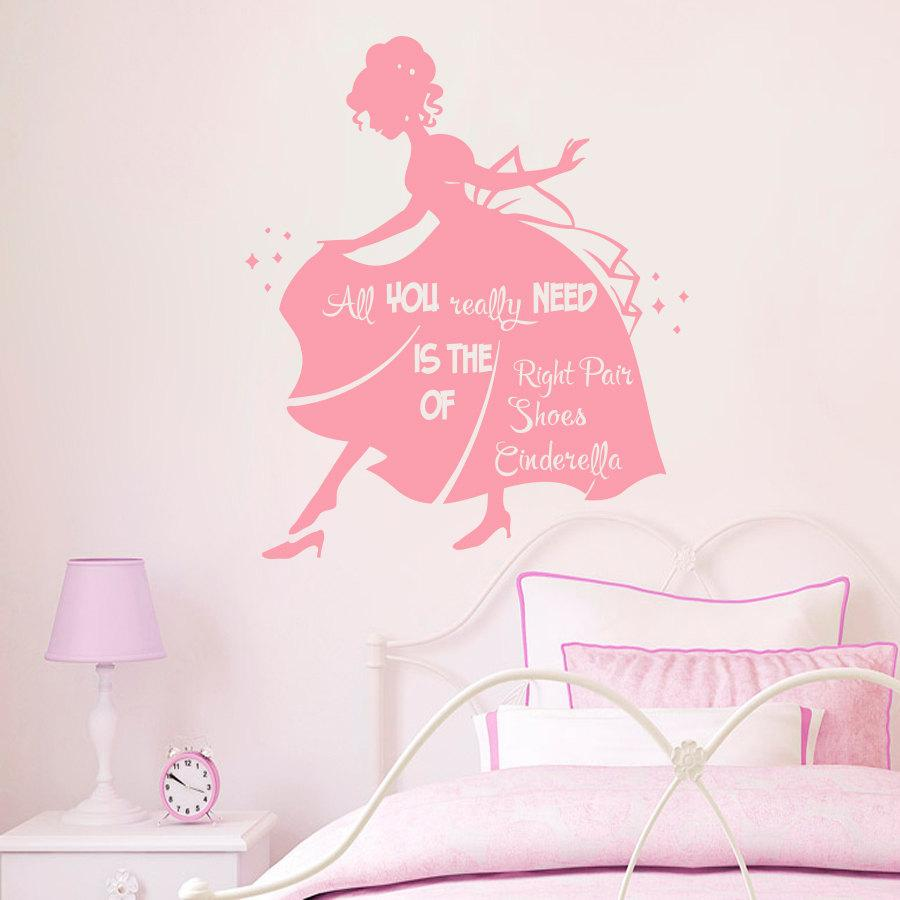 Marvelous Cinderella Princess Wall Stickers For Kids Rooms Bedroom Wall Decals  Posters Mural Vinyl Stickers Muraux Home Decor Decal Room Stickers For Kids  Room Wall ...