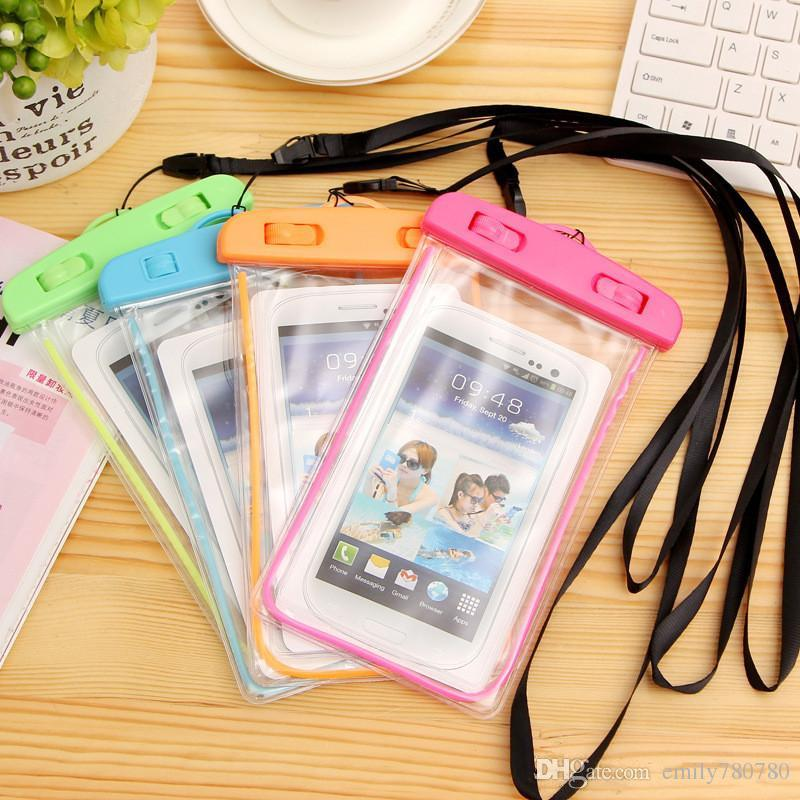 Sealed Waterproof Phone Case Bag Pouch Luminous Phone Cases For Xiaomi iPhone 6 7 Plus 5S Samsung Galaxy S6 S5 S7 S8 G-SW