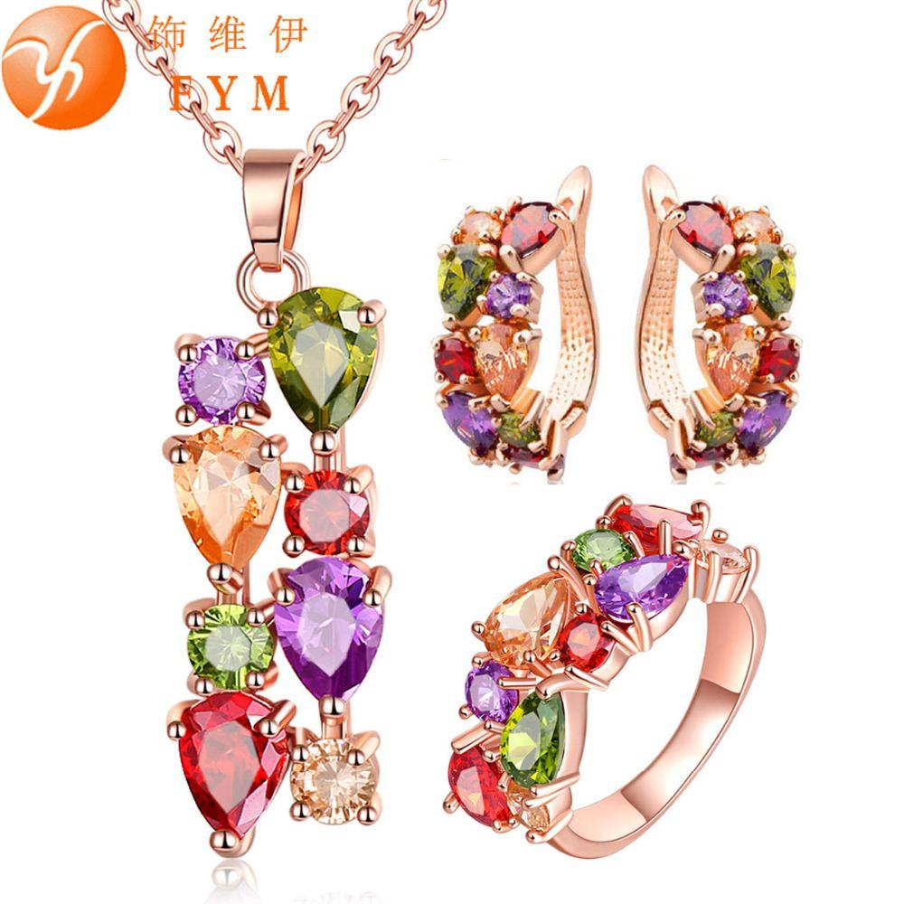 2018 Casi Rose Gold Plated Jewelry Sets For Women Mona Lisa Colorful