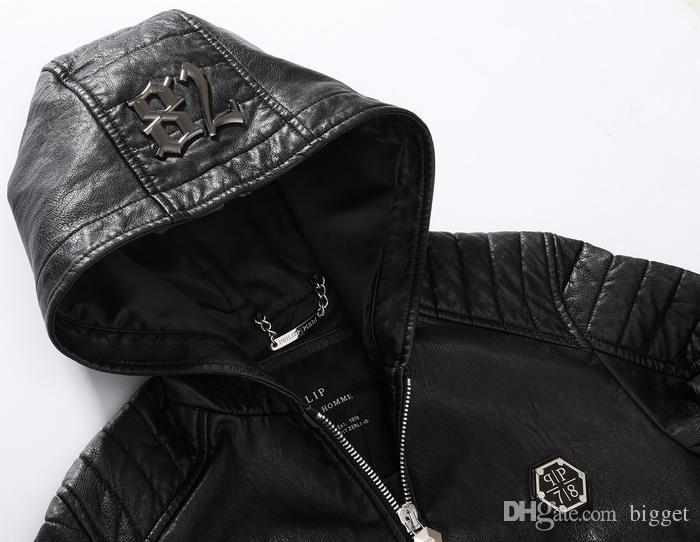 Hooded Leather Coat Men New Slim Fit Hood Biker Leather Jacket Tops Man 78 Metal Patch
