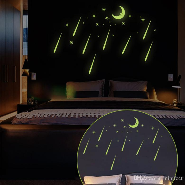 Luminous wallpaper stars and moon bedroom sitting room wall stickers children cartoon fluorescence meteor shower stickers