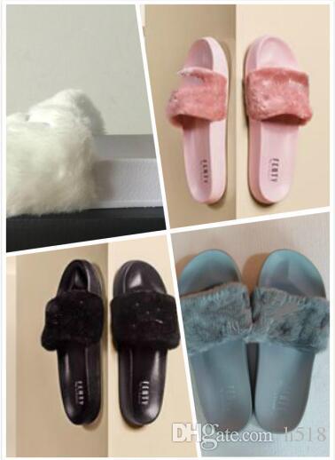 super popular 50f53 4a4b9 RIHANNA FUR LEADCAT FENTY SLIDES WOMEN Men SLIPPERS House Winter Slipper  Home Shoes Woman Warm Slippers Chaussons Bag