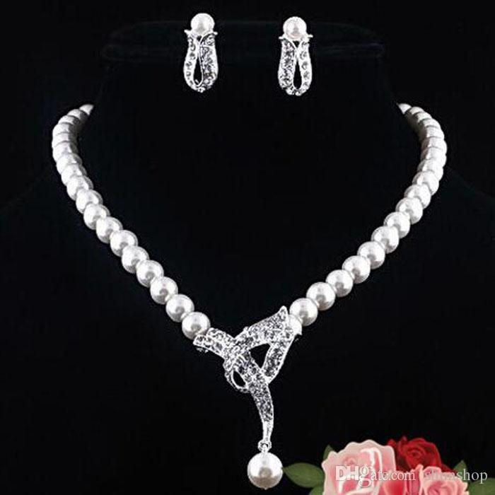 Crystal Pearl Necklace Earring Wedding Bridal Jewelry Sets Necklace For Wedding Party Bridal Jewelry Girlfriend Gift
