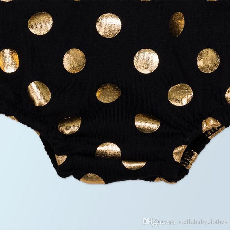 Ropa metálica de las muchachas del bebé de la colmena del algodón del algodón conjunto de las muchachas del mono de Boho Playsuit del polo de los lunares del niño mono con la venda