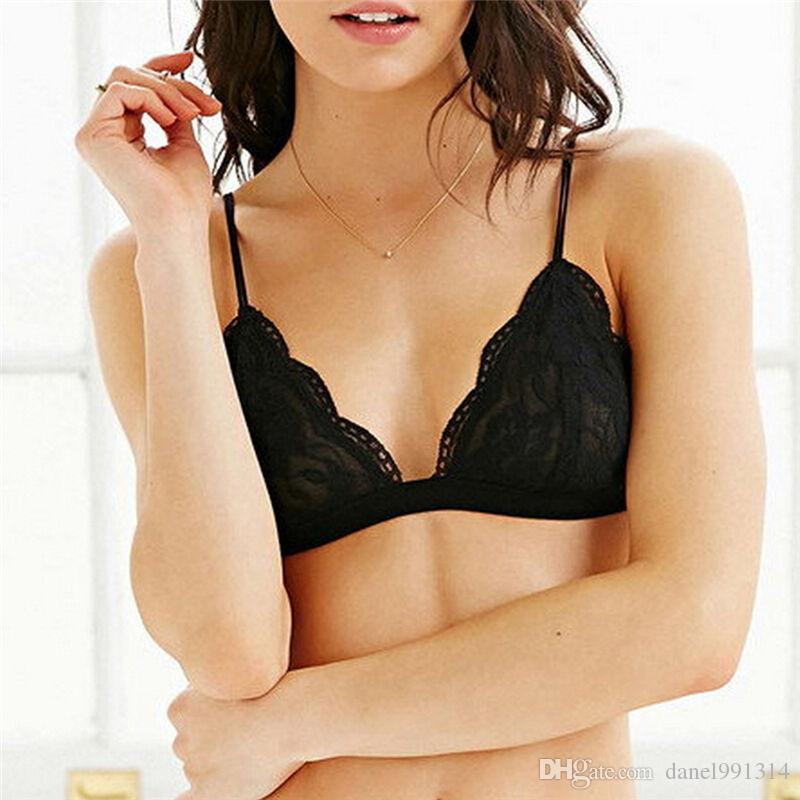 87e18483bae5c 2019 Women Sexy Ultra Thin Lace Bra Wireless Brassiere See Through Bralette  Fashion Crop Top Triangle Bra Sexy Bust Bodice From Danel991314