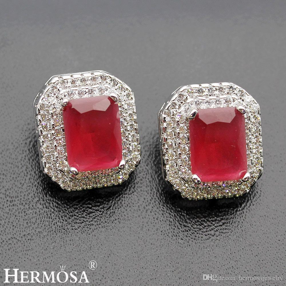 Rectangle Ear Sterling Silver Natural Gemstone Cherry Ruby White Topaz Emerald Onyx Women Stud Earrings Happiness Gifts