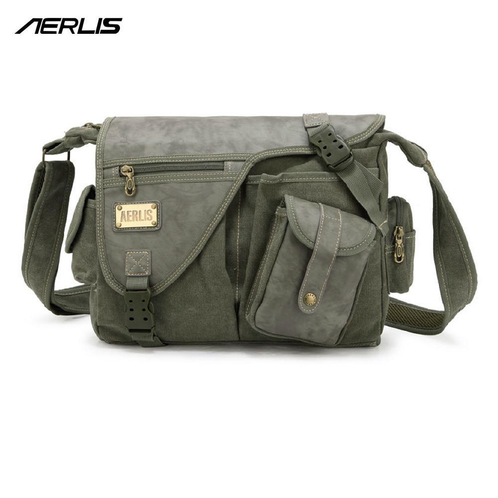 00b5b7daa750 Wholesale AERLIS Brand Men Handbag Canvas PU Leather Satchel Messenger  Sling Bag Versatile Male Casual Crossbody Shoulder School Bags 4390 Black  Purses ...