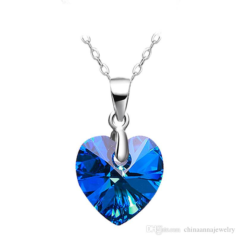 Wholesale Beautiful Gift For Girlfriend Blue Colour Heart Pendant ...